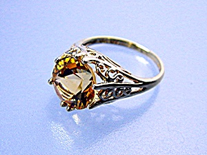 Ring 14K Gold Filigree 5ct Golden Citrine (Image1)