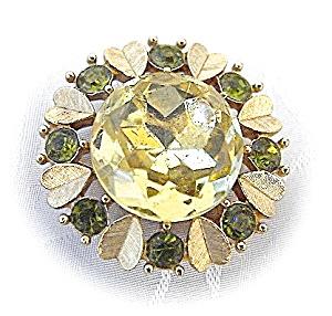Vintage Goldtone AVON Citrine pin pendant . . . . (Image1)