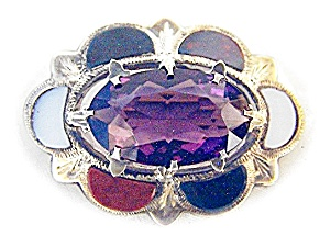 Sterling Silver Scottish Agate/Amethyst Brooc (Image1)
