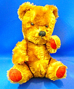 Mohair Jointed Teddy Bear Red Paws Squeeker Vintage (Image1)