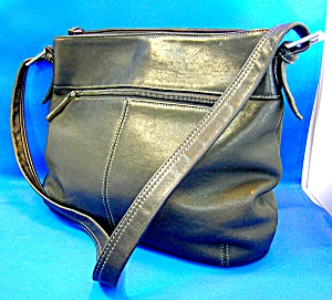 Tignanello Black Leather Multi Compartment Bag
