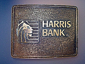 Brass Belt Buckle Harris Bank (Image1)