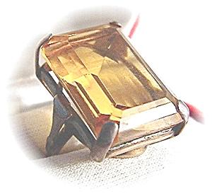 Huge Sterling Citrine Color Stone Ring . . . . . . . (Image1)