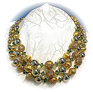 Lisner Gold Filigree Green Crystal Necklace & Earrings