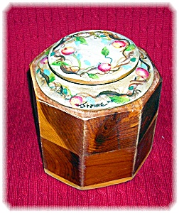 Artist Signed Jeanne Wood Box Jar Hand Painted Top (Image1)