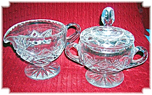 Cut Glass Sugar with Lid and Cream Pitcher (Image1)