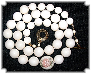 Bone Ivory Bead Necklace Lotus Flower Bead