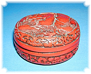 Oriental Cinnabar and Black Laquer Bowl & Lid (Image1)