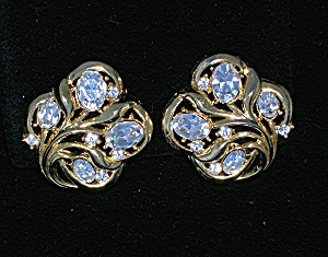 Crown Trifari Gold and Crystal Clip Earrings (Image1)