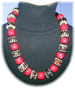 African Bone.coral. Onyx And Jet Glass Beads