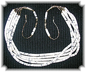Necklace White Turquoise 5 Strand Sterling Silver Clasp (Image1)