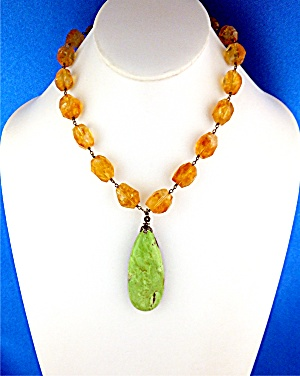 Citrine Sterling Silver Jade Signed Saje Necklace