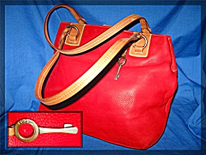 Red Leather Fossil Handbag, New With Tags