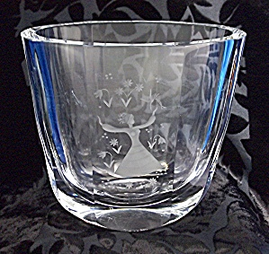 Orrefors Crystal Vase  Etched Girl with Flowers (Image1)