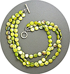 Pearls Sterling Silver Toggle Clasp Lime Green Coin  (Image1)