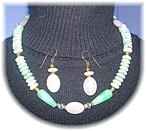 Jadeite And Rose Quartz Necklace & Earrings