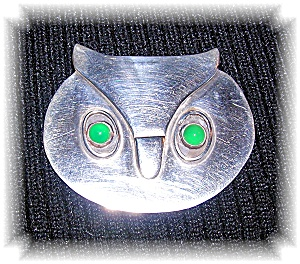 Mexican Sterling Silver Signed SM Owl Brooch (Image1)