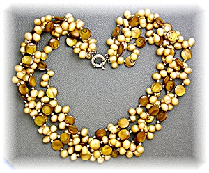 Freshwater Pearls Tigerseye 4 Strand Necklace