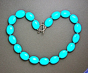 Artist Made Chinese Turquoise Sterling Silver Necklace