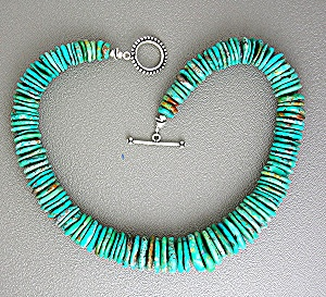 Turquoise Stacked Necklace Sterling Silver Toggle Clasp