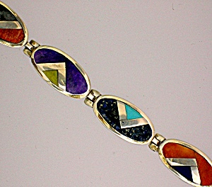 Calvin Begay Sterling Silver Inlay Coral Turquoise  Bra (Image1)