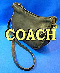 Coach Leather Zip Top Black Shoulder Bag (Image1)