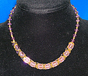 Amethyst Crystal Gold Antique Necklace