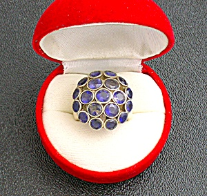 Sterling Silver Blue Iolite Dome Ring