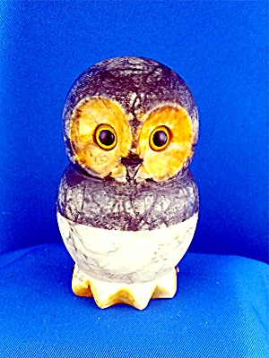Hand Carved Alabaster Owl Made In Italy 4 Inches Tall