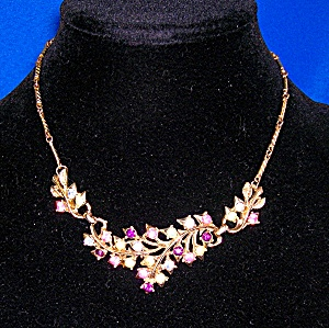 Coro Gold Crystal Flower Necklace