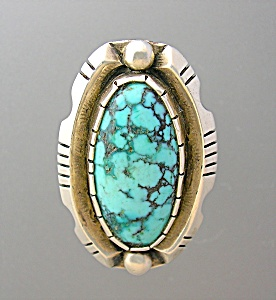 Native American Sterling Silver Large Turquoise Ring