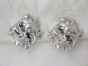 Whiting And Davis Silver Swirl Cip Earrings
