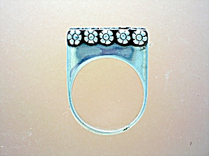 Sterling Silver High Set Ring With Flowers