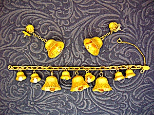 Miriam Haskell Gold Bells Bracelet And Earrings.