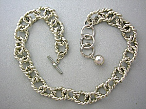 Anne Klein Silver Chain Toggle Clasp Necklace