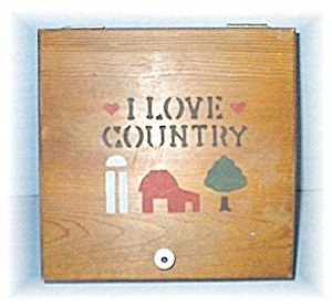 Wood  Box  Hand Stenciled I Love Country  USA (Image1)