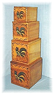 Vintage Woodpecker Handpainted Rooster Boxes (Image1)
