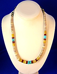 Native American Turquoise Melon Shell Necklace (Image1)