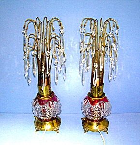 PAIR VINTAGE CRYSTAL TEARDROP WATERFALL LAMPS ..... (Image1)