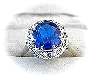 Ring 14 K White Gold Synthetic Sapphire & Diamond  (Image1)