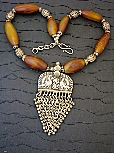Sterling Silver Jasper And Antique Indian Silv Necklace