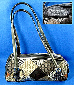 Fossil Leather And Microfibre Patch Look Handbag