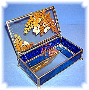 Vintage Hand Made Leaded Glass Box (Image1)