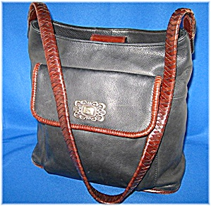 Fossil black and brown leather handbag (Image1)
