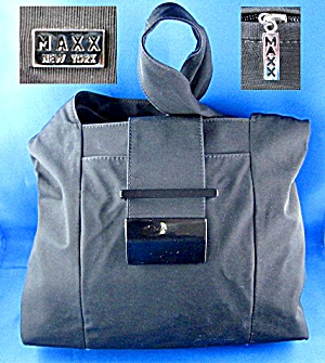 Maxx Of New York Black Microfiber Hobo Handbag