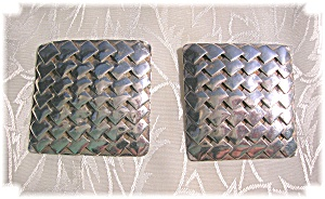 Vintage 1 5/8 Square Sterling Silver Earrings (Image1)