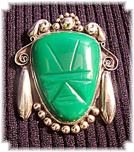 Mexican Silver and Jade  Signed HHM Brooch (Image1)