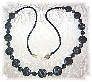 Carved Obsidian Faces 26 Inch Necklace (Image1)