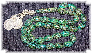 Prayer Beads Green Gold Glass & Coins