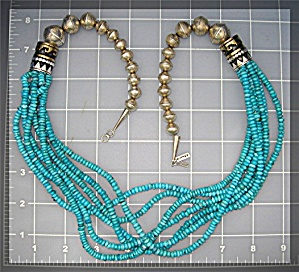 Navajo TOMMY SINGER Turquoise Sterling Silver Necklace (Image1)